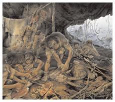 Comunità di cacciatori paleolitici impegnati nella macellazione di uno stambecco (Disegno inklink Firenze/ink agency)